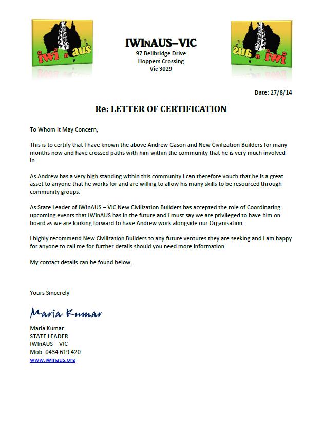IWInAUS Letter