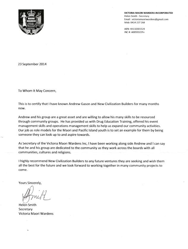 Maori Wardens Letter