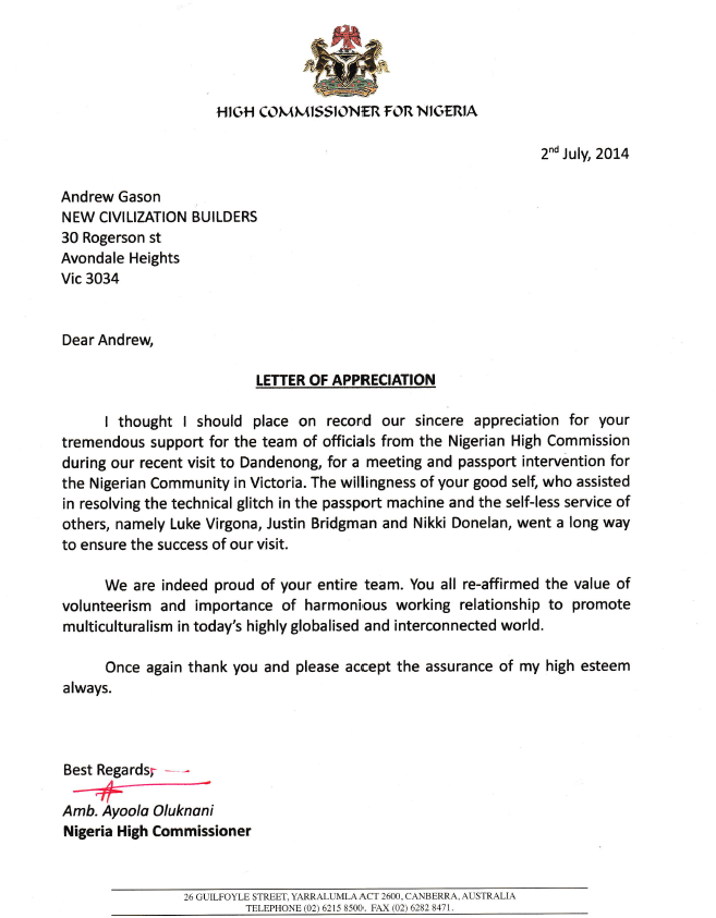 NCV High Commissioner Letter
